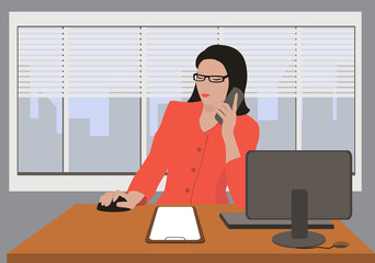 Woman talking by phone in room. Office life flat style vector illustration. Situation in office. Workplace. Office interior.