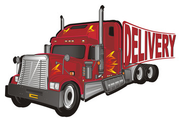 car, truck, freight, trailer, American trailer, cargo, truck, truck trailer, fire, American truck, illustration, transportation, word, delivery, stamp