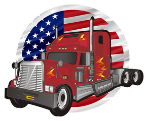 car, truck, freight, trailer, American trailer, cargo, truck, truck trailer, fire, American truck, illustration, transportation, round, flag