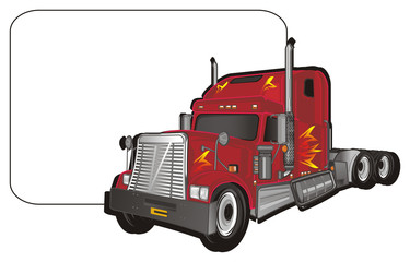 car, truck, freight, trailer, American trailer, cargo, truck, truck trailer, fire, American truck, illustration, transportation, paper