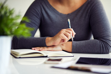 Close up of woman working in office with her diary