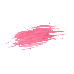 Hand painted pink watercolor texture isolated on the white backg