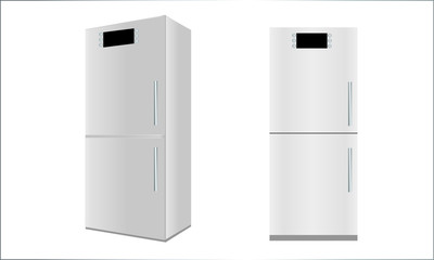 View of refrigerator in two positions