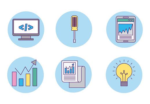 Blue Circular Business Icon Set 1