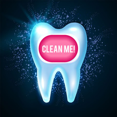 Shining Helthy Tooth with Lights. Cleaning Teeth. Fresh Stomatology Design Template. Dental Health Concept. Oral Care.