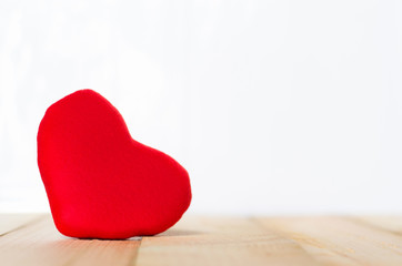 red heart love on wood table with white for valentine background. love concept. valentine day concept