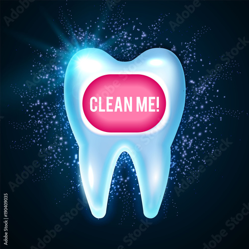 Shining Helthy Tooth With Lights Cleaning Teeth Fresh Stomatology