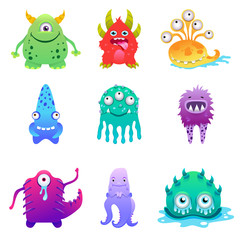 Cute cartoon monsters alien characte set vector illustration