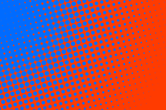 Gradient halftone dots background in pop art style. Orange and blue texture. Vector illustration.