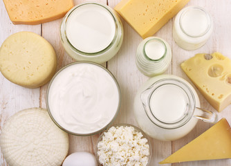 Foto op Canvas Zuivelproducten Top view of fresh dairy products