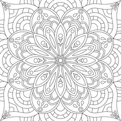 Flower rectangular mandala for adults. Coloring book page design. Anti stress black and white vintage decorative element. Monochrome square ethnic pattern. Hand drawn isolated vector illustration.