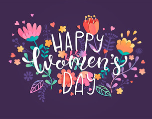 Happy women's day card with handdrawn lettering on violet background with beautiful flowers and leaves. Vector illustration template, banner, flyer, invitation, poster.
