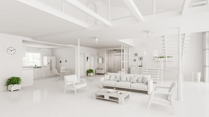 Interior of modern house 3d rendering
