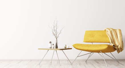 Interior with yellow armchair and coffee table 3d rendering