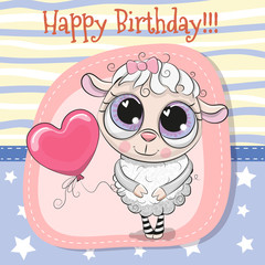 Greeting card Cute Sheep girl with balloon