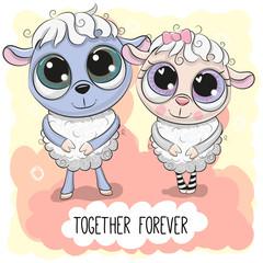 Cute Cartoon Sheep boy and girl