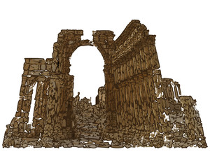 Ruins of Palmyra in Syria vector illustration arwork