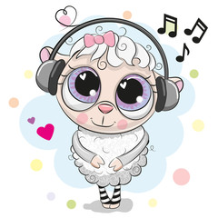 Cute cartoon Sheep with headphones
