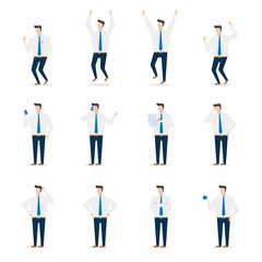 Office business man character in various action poses. Illustration flat design vector.
