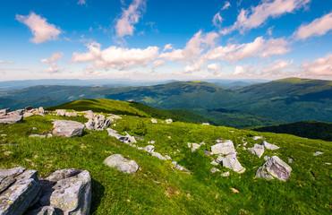 Carpathian alps with huge boulders on hillsides. beautiful summer landscape in fine weather. Location Polonina Runa, Ukraine