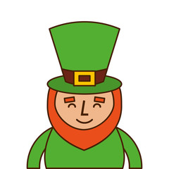 st. patricks day portrait of a smiling leprechaun vector illustration
