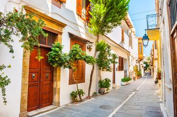 Beautiful street in Rethymno, Crete, Greece.