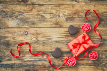 valentines day greeting card, milk chocolate heart shape, gift box