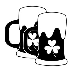 two beer glass clover drink alcohol vector illustration black and white image