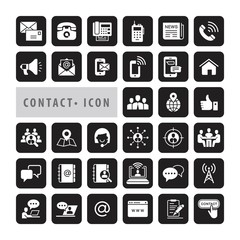 Contact icons set, vector