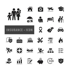 Insurance icon set Vector Illustration, icons modern design style