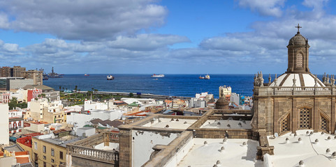 Panoramic view of historical downtown of Las Palmas - Capital of Gran Canaria in Spain