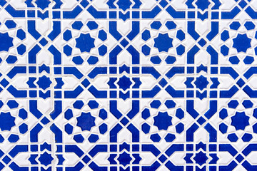 Moroccan tiles with traditional arabic patterns, ceramic tiles patterns as background texture
