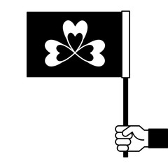 hand holding flag with clover symbol vector illustration black and white image