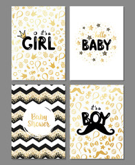 Vector set of baby shower cards. It's a girl, it's a boy card. Hello baby card. Gold design. Baby shower posters set. Vector invitation with cute kids pattern. Baby arrival and shower collection.