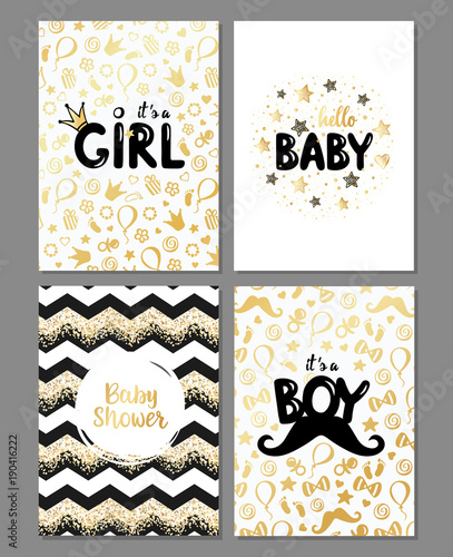 acb93aa00 Vector set of baby shower cards. It s a girl