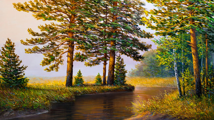 Morning mist on the river. Painting.