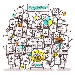 Cartoon People and Happy Birthday