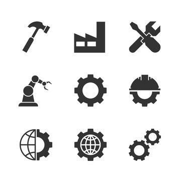 Manufacturing black icons