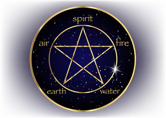 Gold Pentagram icon with five elements : Spirit , Air , Earth , Fire and Water. Golden Symbol of alchemy and sacred geometry. Emblem in galaxy background. Vector isolated