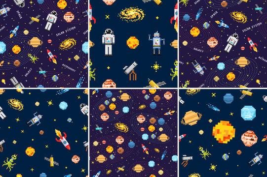 space seamless pattern set background, alien spaceman, robot rocket and satellite cubes solar system planets pixel art, digital vintage game style. Mercury, Venus, Earth, Mars, Jupiter, Saturn.