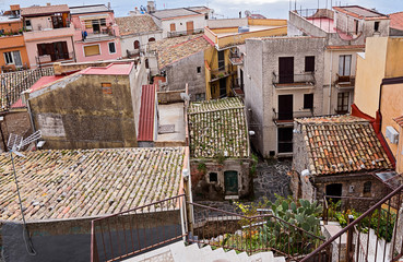 Authentic roofs of ancient houses Castelmola in Sicily, Italy top view