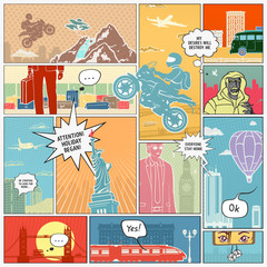 Vector illustration Page Comics Layout Concept