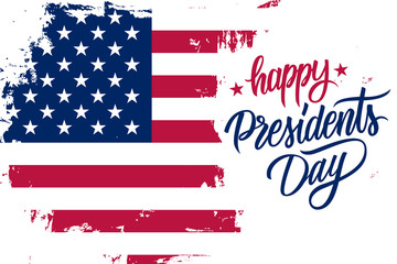 Happy Presidents Day holiday banner with brush stroke background in United States national flag colors and hand lettering text design. Vector illustration.