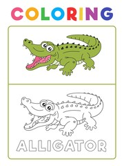 Funny Alligator Crocodile Animal Coloring Book with Example. Preschool worksheet for practicing fine colors recognition skill. Vector Cartoon Illustration for Children.