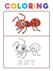 Funny Ant Insect Animal Coloring Book with Example. Preschool worksheet for practicing fine colors recognition skill. Vector Cartoon Illustration for Children.