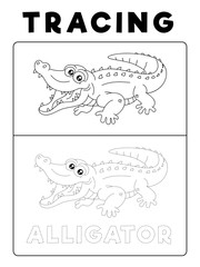 Funny Alligator Crocodile Animal Tracing Book with Example. Preschool worksheet for practicing fine motor skill. Vector Cartoon Illustration for Children.
