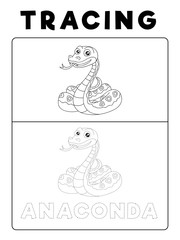 Funny Anaconda Snake Animal Tracing Book with Example. Preschool worksheet for practicing fine motor skill. Vector Cartoon Illustration for Children.