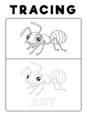 Funny Ant Insect Animal Tracing Book with Example. Preschool worksheet for practicing fine motor skill. Vector Cartoon Illustration for Children.