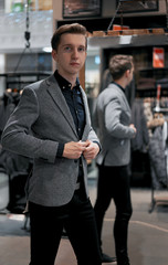 man jacket in clothing store