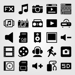 Multimedia vector icon set. speaker, fx, volume and headphones